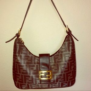 Fendi Zucca Woven Metallic Canvas Shoulder Bag